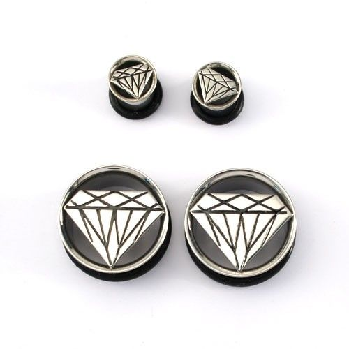 Stainless Steel Single Flared With Cut Diamond - Ear Gauges & Plugs - Body Jewelry