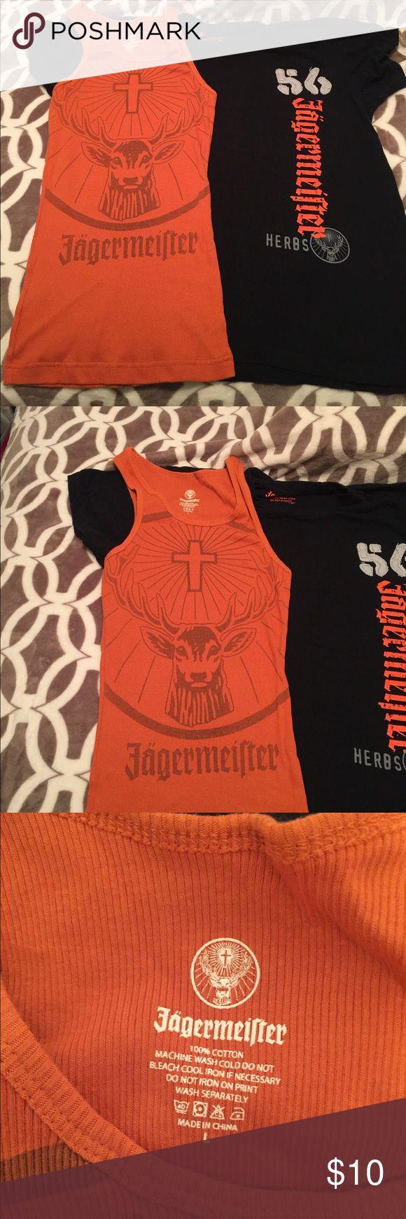 2 Large Jägermeister shirts One black L t- shirt one L orange tank top you get both Tops