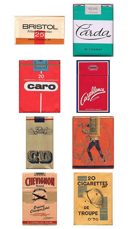 vintage packaging: collection of cigarette packs #design #vintage #packaging