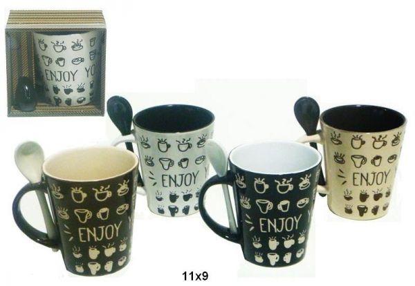 Taza con Cuchara Enjoy your coffee - Taza de ceramica Enjoy your coffee, con…