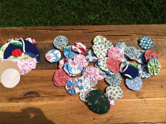 Fabric yoyo destash vintage fabric 2 inch by Misfitzz on Etsy, $6.00