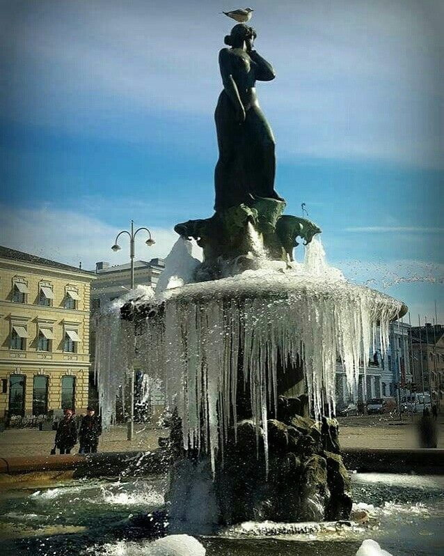 Frozen Havis Amanda statue in Helsinki