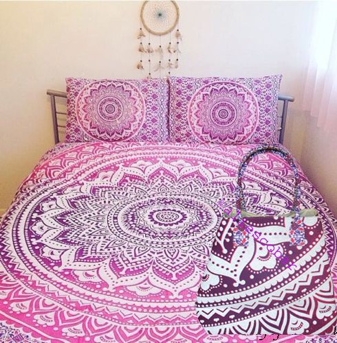 Mandala Duvet Cover Pink Color Bedding Cover With 1 Pcs Mandala Bag Free  #Handmade #DuvetCover
