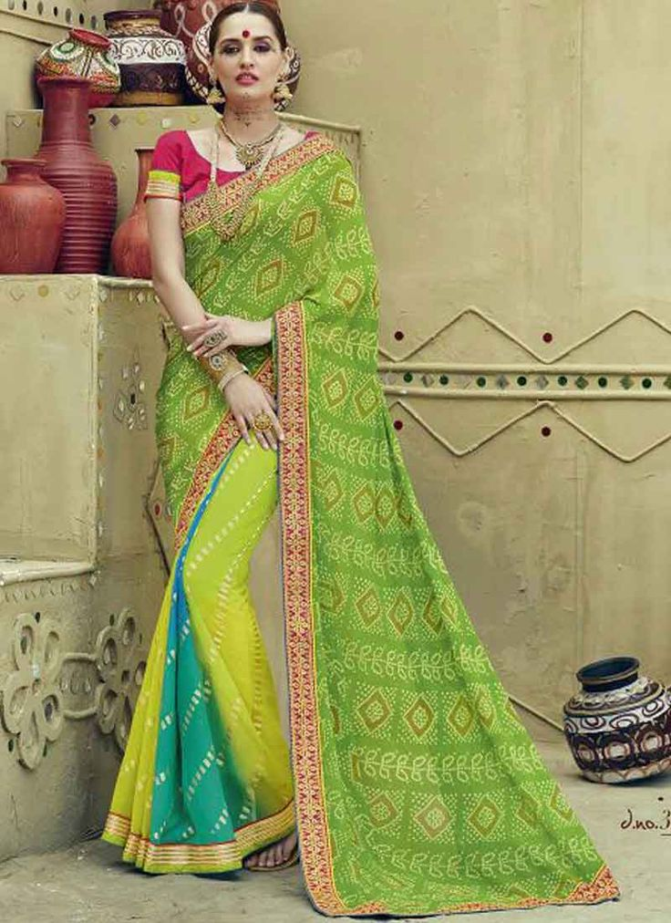 Green Shaded Georgette Bandhej Printed Zari Embroidery Work Party Wear Sarees