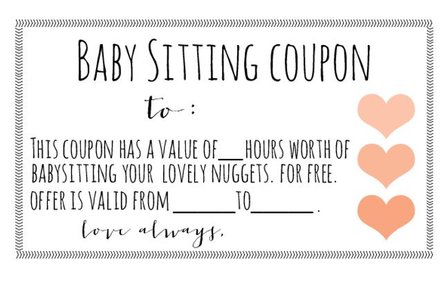 Babysitting coupons are great for the surrogate (a night out is always welcomed) or for the intended parents!