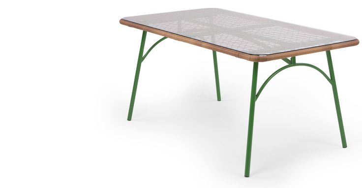 Lyra Outdoor Rectangular Dining Table, Green