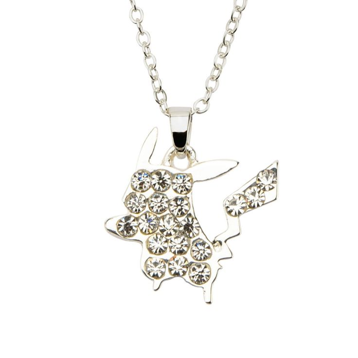 Pokemon Silver Plated Clear Gem Pikachu Pendant Stainless Steel Necklace #Inox