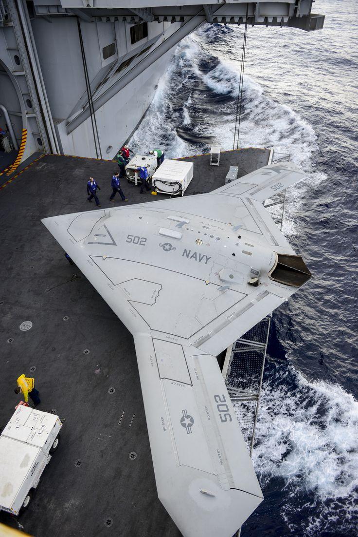https://flic.kr/p/dC4Jrd | The X-47B aboard USS Harry S. Truman. | ATLANTIC OCEAN (Dec. 11, 2012) An X-47B Unmanned Combat Air System (UCAS) demonstrator aircraft is transported  on an aircraft elevator aboard the aircraft carrier Harry S. Truman (CVN 75). (U.S. Navy photo courtesy of Northrop Grumman by Alan Radecki/Released) 121211-N-ZZ999-102 Join the conversation www.facebook.com/USNavy www.twitter.com/USNavy navylive.dodlive.mil