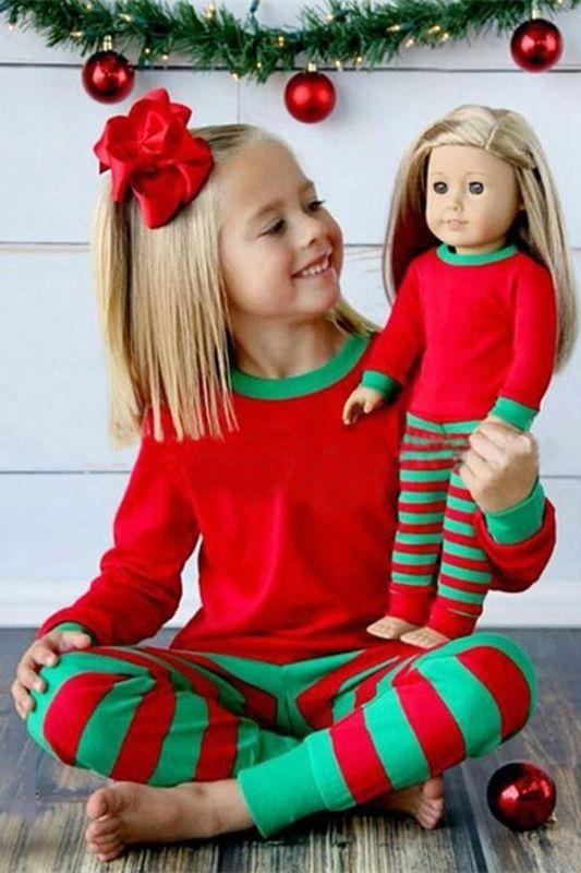 red christmas pajamas for kids, green plaid christmas PJs, cute teens christmas party pajamas