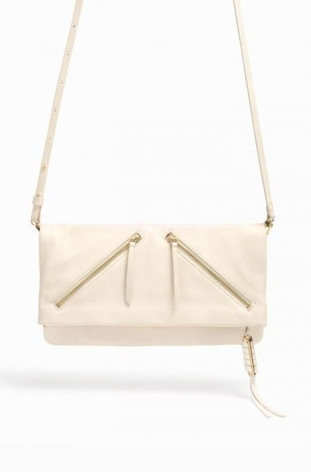 An iconic Stella & Dot style now in luxurious, soft stone leather. Custom hardware with hand wrapped leather tassel.Adjustable strap length, and convenient versatility to be worn four ways. Wear with strap attached and bag folded todisplay beautiful hardware details or with a minimal exterior. Next expand and attach strap at top of bag for added roomand lastly, remove strap for an evening clutch. Custom jacquard lining with signature lurex detailing. Top ...