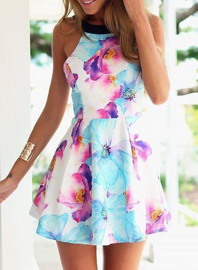 Blue Strap Floral Slim Flare Dress -SheIn(Sheinside) Mobile Site