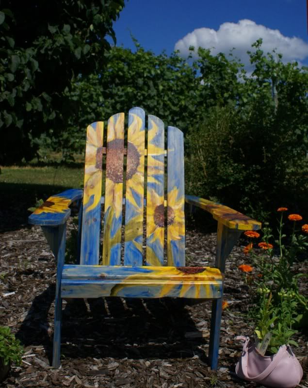 painted adirondack chair with sunflowers - Garden Furniture Colour Ideas