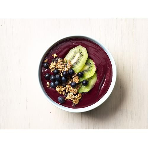 Megan May's version of the popular Brazilian breakfast bowl. It's a bowl of antioxidant-rich acai blended with berries and banana into a delicious �sorbet� topped with raw granola