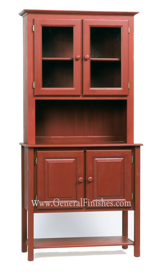 Brick Red Milk Paint from GeneralFinishes.com on unfinished furniture hutch. Available at unfinished furniture stores - www.buyunfinishedfurniture.com, Rockler and Woodcraft Woodworking stores throughout U.S.
