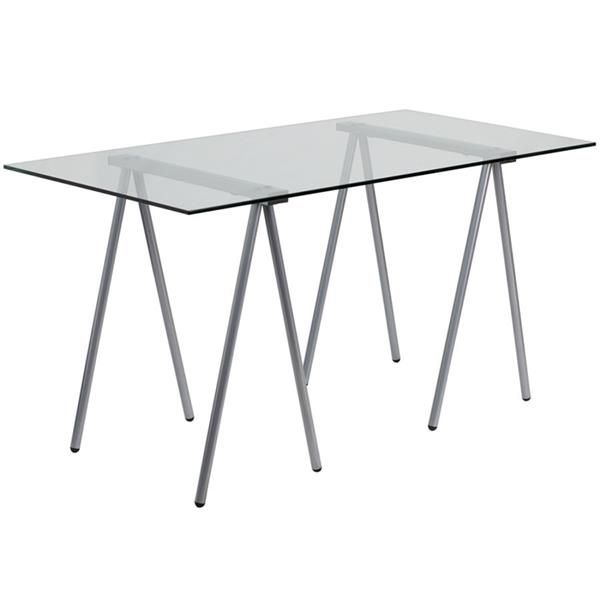 Contemporary Clear Glass Metal Computer Desk W/Silver Frame