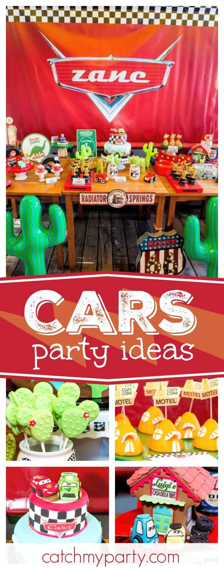 Check out this awesome Disney Cars birthday party. The birthday cake is incredible!! See more party ideas and share yours at CatchMyParty.com #disneycars #cars3