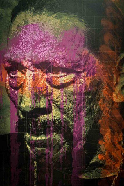 SOLD : Orticanoodles, Portrait of Danny Trejo, Stencil on Paper, 70x100cm, 1/15, 2013, Traffic Gallery [SOLD]