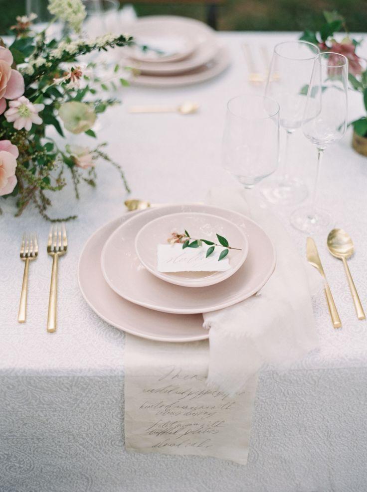 Blush dinnerware and gold flatware | Photography: Simply Sarah - http://simplysarah.me/