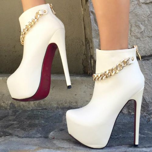 White Chain Strappy Booties
