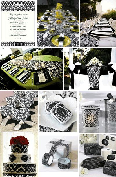 Damask Inspiration Board For A Black And White Damask Baby Shower.