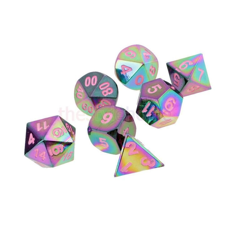 MagiDeal Pack/7pcs Zinc Alloy Polyhedral D20 D12 D10 D8 D6 D4 Dice Pink | eBay