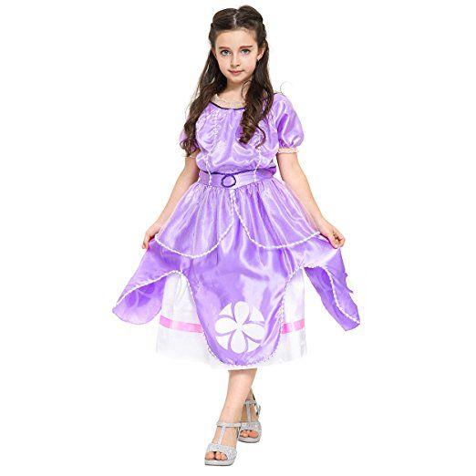 Katara 1745 - Sofia die Erste Royales Kostüm Kleid für Mädchen mit Reifrock, 128/134 Etikett 140, lila