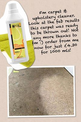 FM Cosmetics home products.  Carpet and upholstery cleaner 1000ml £4.30 look at the results. Want to know more go to www.charliesfmcosmetics.weebly.com or www.facebook.com/charliesfmcosmetics