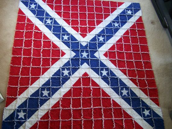 Rebel Flag Rag QuiltSouthern Cross Rag Quilt by LoveToSew4You, USD 285.00 stuff i should have ...