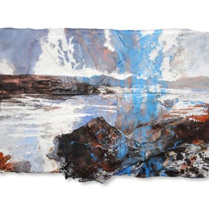 David Tress, Distant Sky Loch Kishorn MIxed Media on Paper 36 x 52 cm.