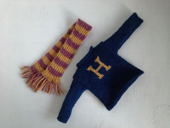 If youre a Harry Potters fan this Weasley sweater is for you! The listing is for sweater and scarf.  Hand knitted for your doll with Holstgarn Coast yarn (55% wool and 45% cotton).  Ready to ship.  Dress it from hands and head (no closure).  Doll and pants are not included. No additional shipping for multiple items  Each item is handmade, ooak, unique, made with love and passion!  Have fun