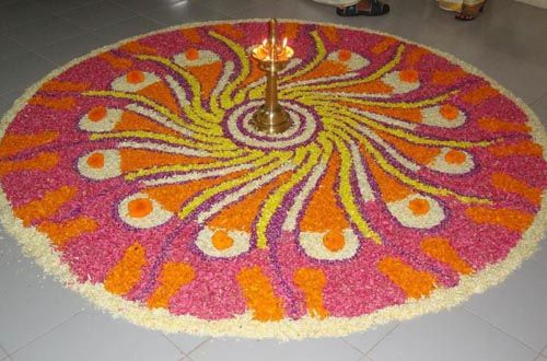 Flower Rangoli Pictures, Best Onam Pookalam Designs