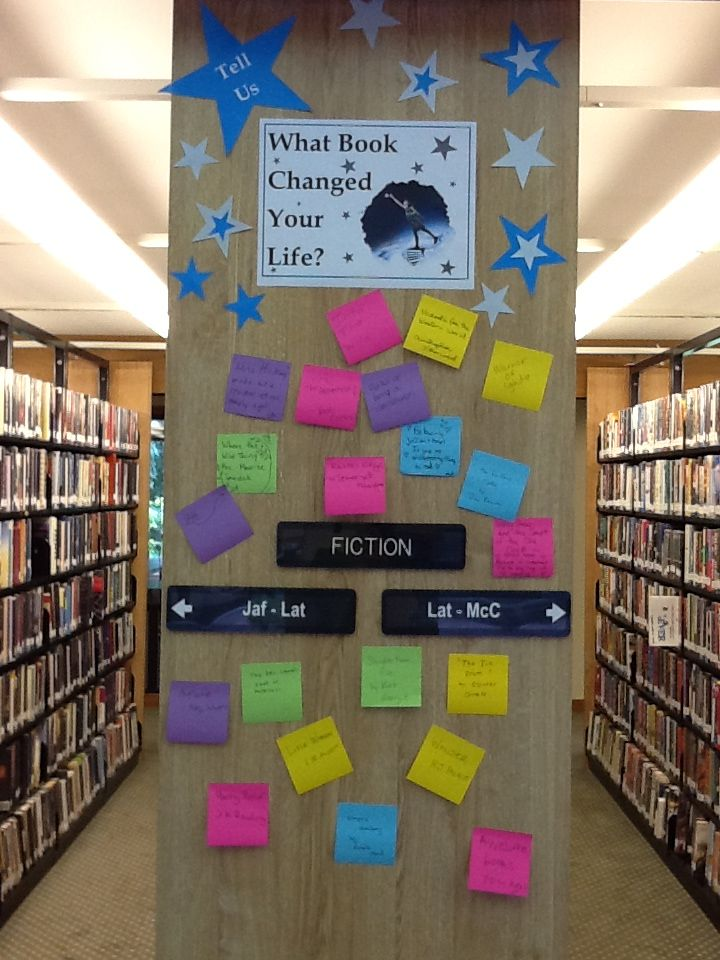 Q: what book changed your life? Like the idea of an interactive library bulletin board with rotating questions students can answer with post-its
