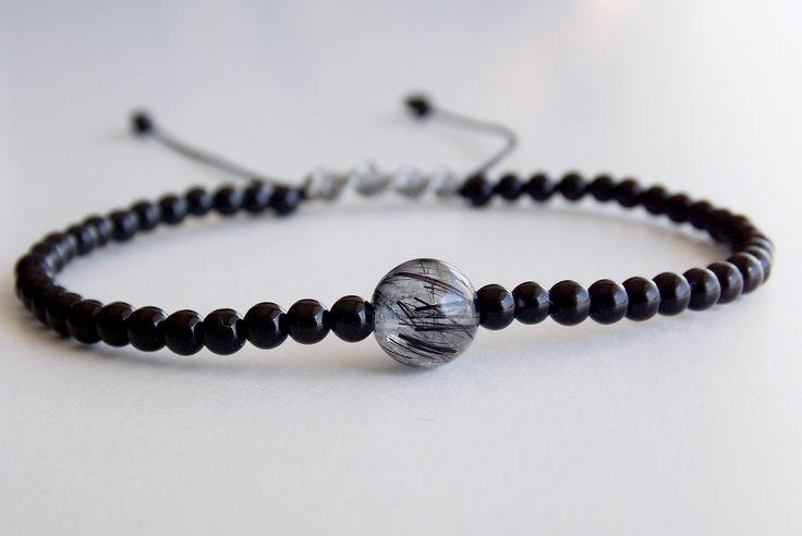 Macrame bracelet from Onyx and one stone of Quartz with Black Tourmaline- Price:11.00€