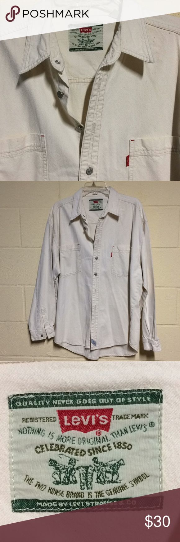 Levi's original button up cream shirt size XL Levi's men's button up cream shirt. 100% cotton. In great shape with normal wear. Size is XL. Has all original buttons and original tags. Authentic Levi Strauss. Levi's Shirts Casual Button Down Shirts