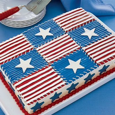 Our showstopping #4thofJuly quilt cake only looks complicated: You start with a mix and then use packaged frosting to decorate.