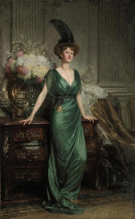 """Mrs Ernest Guinness"", 1912, by Sir Francis Bernard Dicksee (English, 1853-1928)"