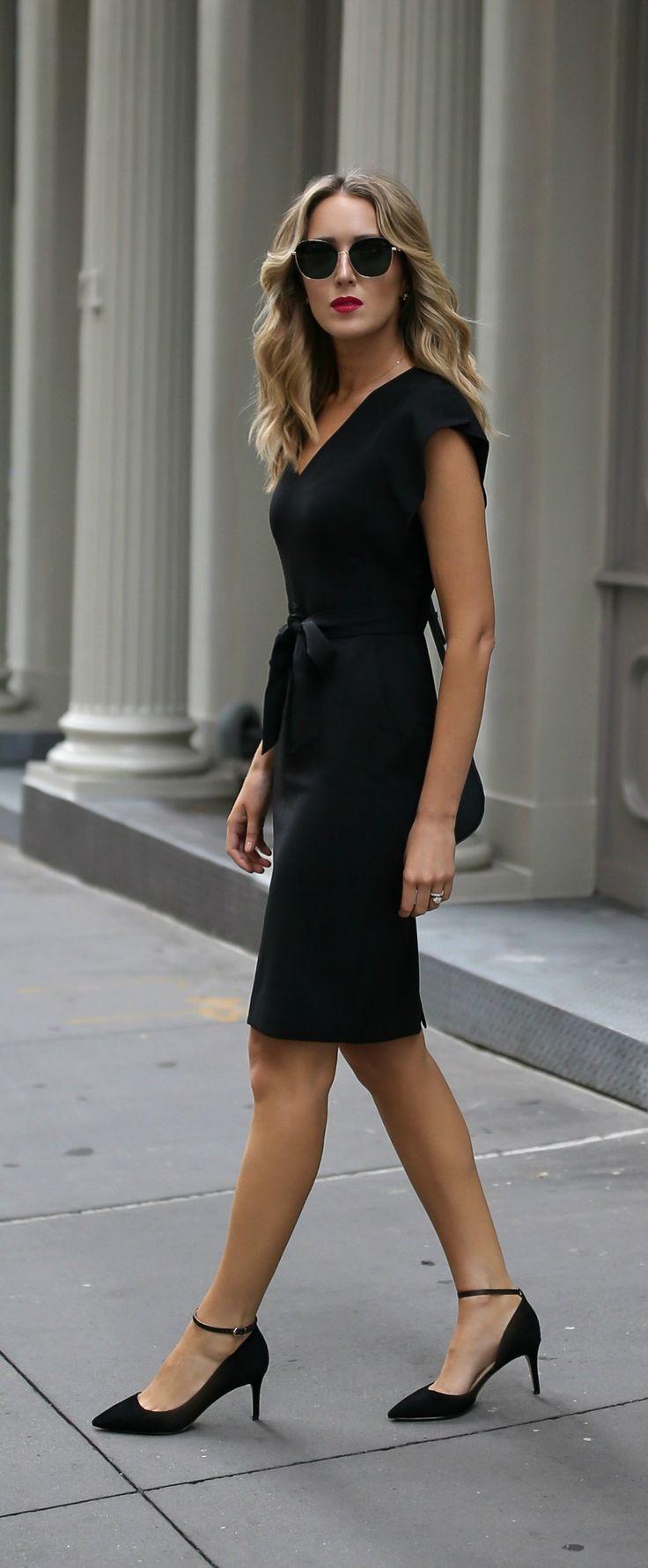 Black dress office - Classic Black Sheath Dress Ankle Strap Black Pumps Eliza J Sam Edelman