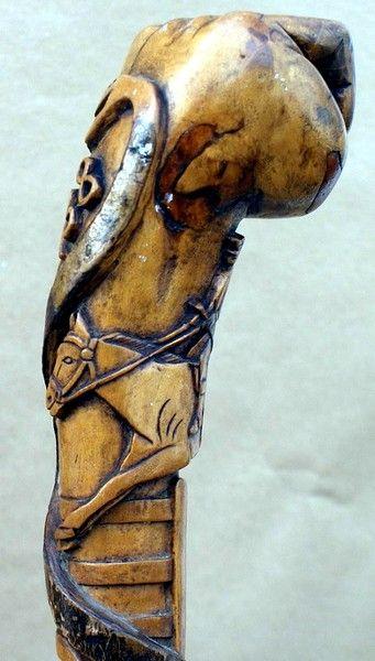 "Folk Art ""Gwalia"" Walking stick - Winfield Antique Canes"