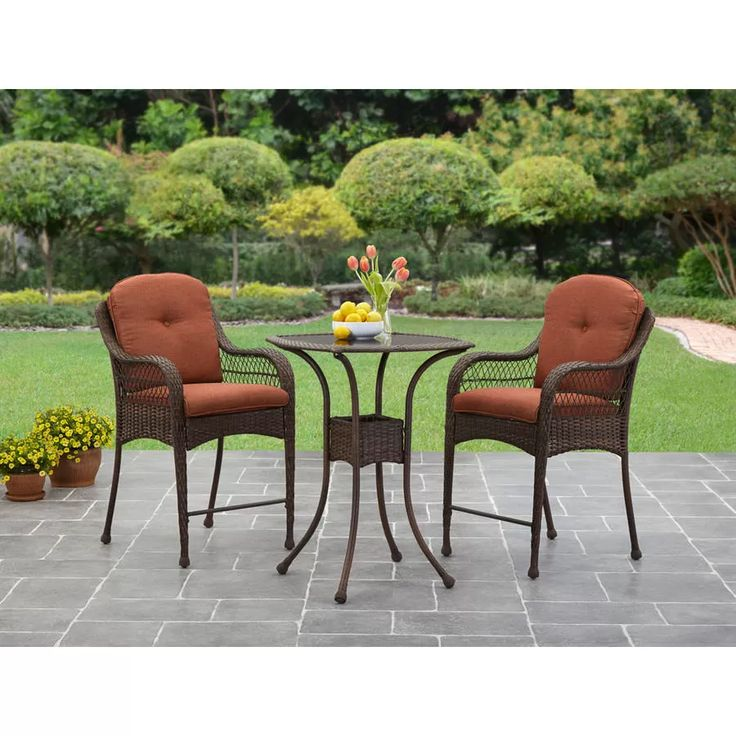 Mainstays Sand Dune 3 Piece High Outdoor Bistro Set, Seats 2
