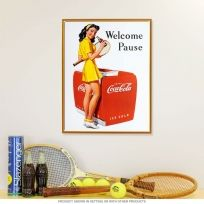 Coca-Cola Welcome Pause Tennis Girl Metal Sign