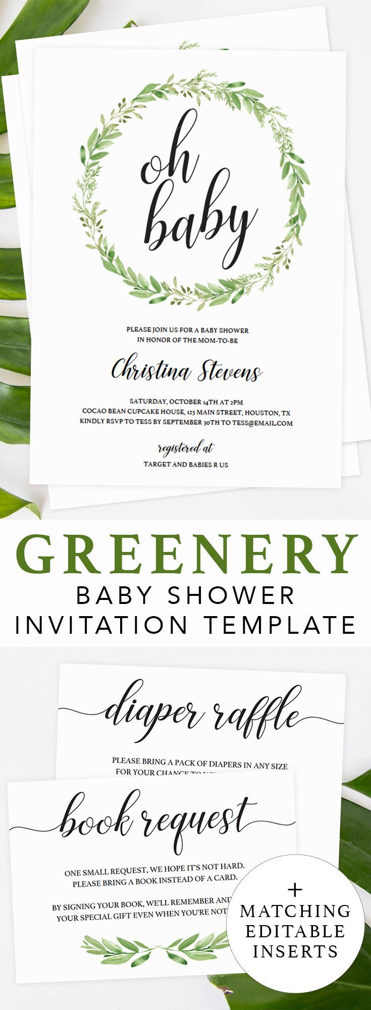 Greenery baby shower ideas by LittleSizzle. Click through to create your own botanical baby shower invitation or re-pin for later! Green baby shower invite template and boho printable baby shower games. Greenery themed gender neutral editable baby shower invitations. Perfect for a green and white themed baby shower. Simply download, edit and print! #babyshowerideas #babyshowerinvites #printable #template #greenery #genderneutral #green #boho #botanical #DIY