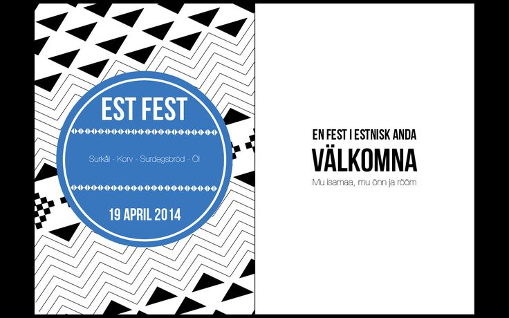 Invitation card for an Estonian themed dinner. Idea & Design: Sofie Predikaka