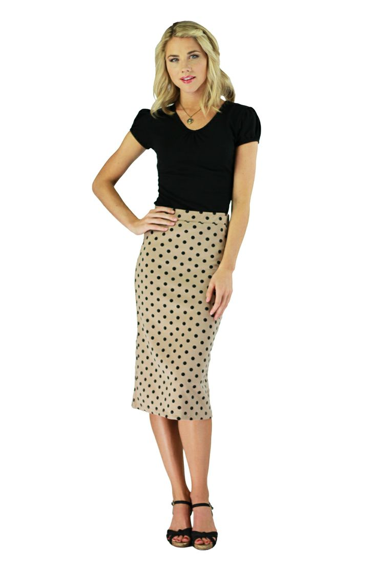 Modest Skirts in Tan Polka DotPolka Dots Skirts Tans, Polka Dot Skirts, Tans Polka, Modest Clothing, Black Polka, Pencil Skirts, Missionaries Fashion, Modest Skirts, Dots Size