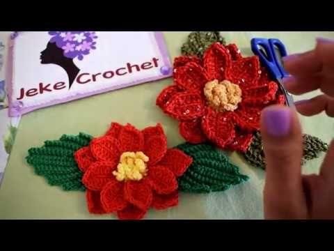 Flor Navideña a Crochet - Stella di Natale all'uncinetto | JEKE CROCHET Paso a Paso - YouTube