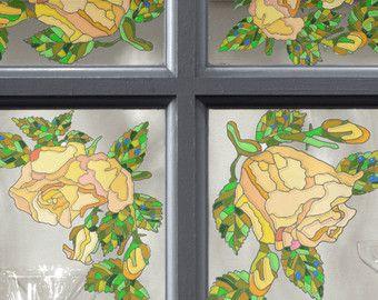 Calcomanías de ventana reutilizable con vidrieras efecto - estático de la ventana se aferra, 5-Set - rosas amarillas - adhesivos para vidrios y espejos - película de la ventana