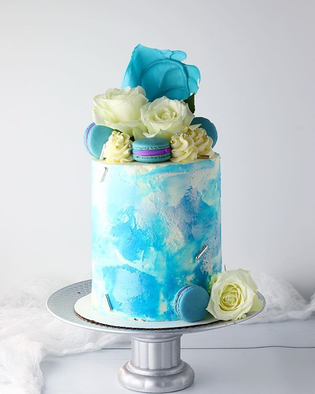 I Was Asked To Make A Topaz Blue Watercolor Cake For Someone Last
