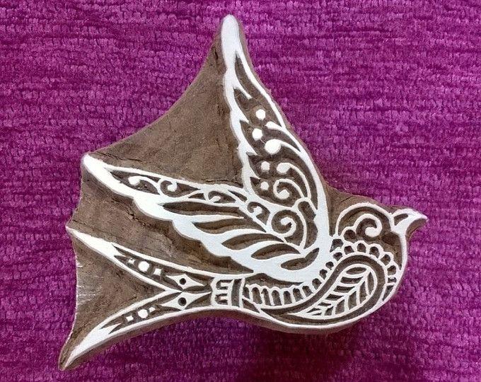 impression de bloc en bois, sculptés à la main indien timbre en bois Textile timbre, timbre de la poterie, timbres de tissu - Hirondelle oiseau