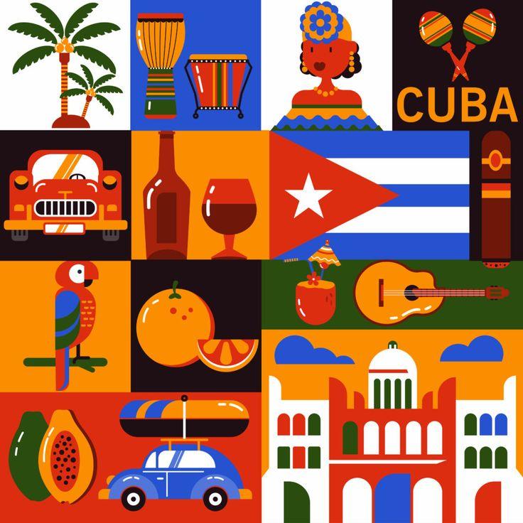 Микростоковая иллюстрация Куба.  Флэт иконки кубинской культуры и еды.