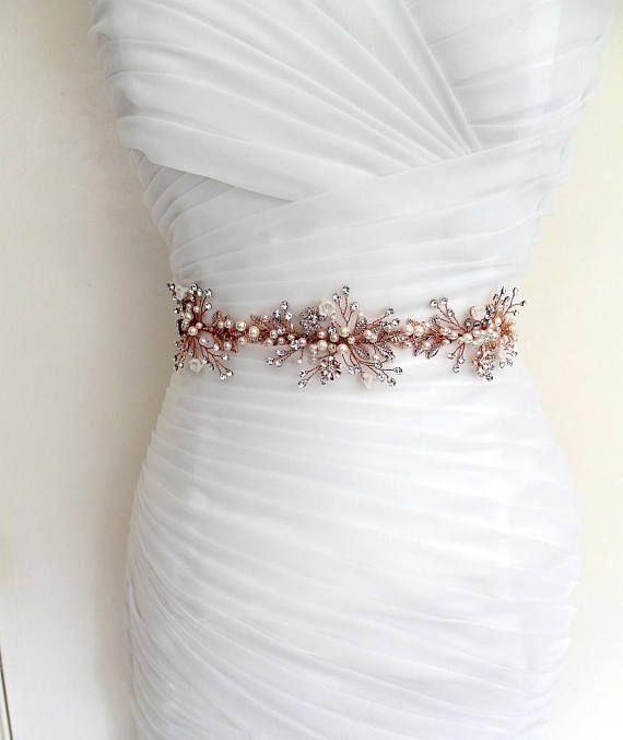 Rose Gold Leaf Vine Wedding Dress Belt Boho Crystal Pearl Gold