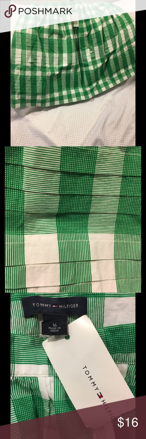 Tommy Hilfiger Skirt Tommy Hilfiger Gingham/Striped like pattern. Color is Kelly Green and White. New with Tags!! Tommy Hilfiger Skirts